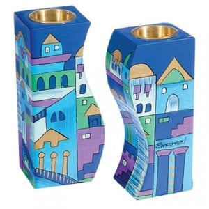 Yair Emanuel Blue Hand-Painted Wood Fitted Candlesticks - Jerusalem