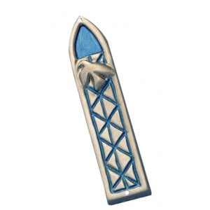 Shraga Landesman Blue Peace Dove and Criss-cross Design Mezuzah Case - Aluminum
