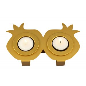 Shraga Landesman Joined Pair Pomegranate Candle Holders - Gold