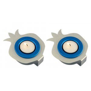 Shraga Landesman Pair Aluminum Pomegranate Candle Holders - Silver and Blue