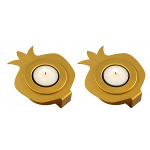Shraga Landesman Pair Aluminum Pomegranate Candle Holders - Gold