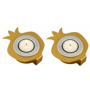 Shraga Landesman Pair Aluminum Pomegranate Candle Holders - Silver and Gold