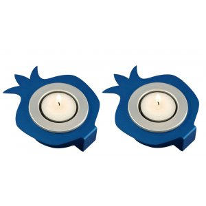 Shraga Landesman Pair Aluminum Pomegranate Candle Holders - Blue and Silver