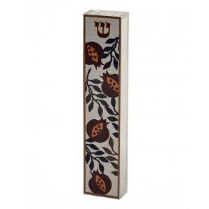 Dorit Judaica Lucite Mezuzah Case Colorful Aluminum Print - Open Pomegranates