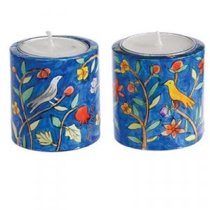 Yair Emanuel Small Hand Painted Wood Candlesticks - Birds and Pomegranates
