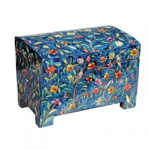 Yair Emanuel Hand Painted Wood Etrog Box, Blue - Forest Images