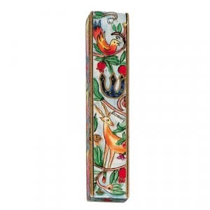 Yair Emanuel Large Hand Painted Wood Mezuzah Case - Forest Scene