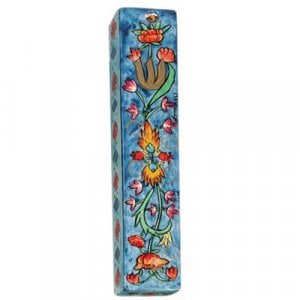 Yair Emanuel Large Hand Painted Wood Mezuzah Case - Flower Design on Blue