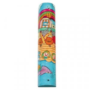 Yair Emanuel Large Hand Painted Wood Mezuzah Case - Noah's Ark on Water