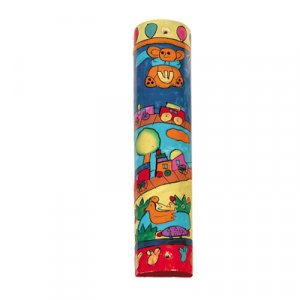 Yair Emanuel Small Hand Painted Wood Mezuzah Case - Children's Train and Toys