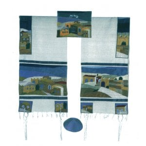 Yair Emanuel Embroidered Silk Tallit Set, Jerusalem - Colorful - 1 in stock