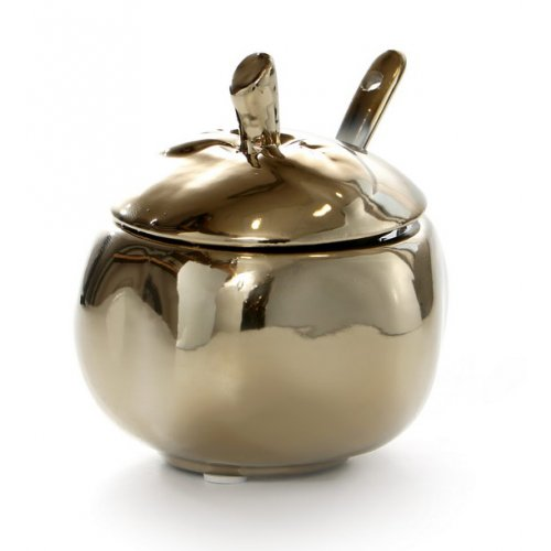 Ceramic Apple Honey Dish with Cover and Spoon - Gold