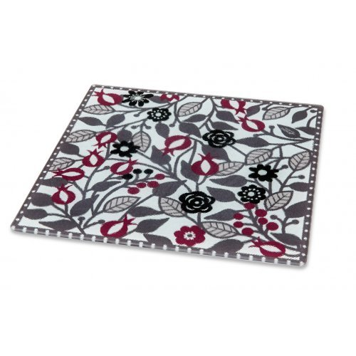Dorit Judaica Tempered Glass Trivet with Pomegranates - Red and Gray