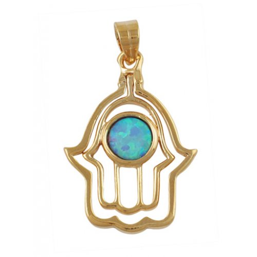 Gold Filled Opal Hamsa Pendant