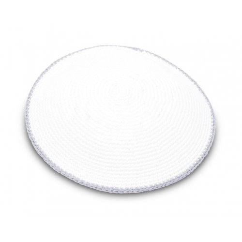 Hand Knitted Cotton Kippah - Solid White with Gray Border