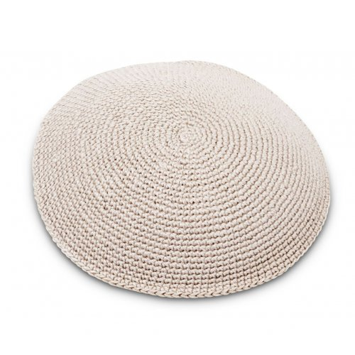 Kippah Hand Knitted with DMC Cotton Thread - Solid Beige